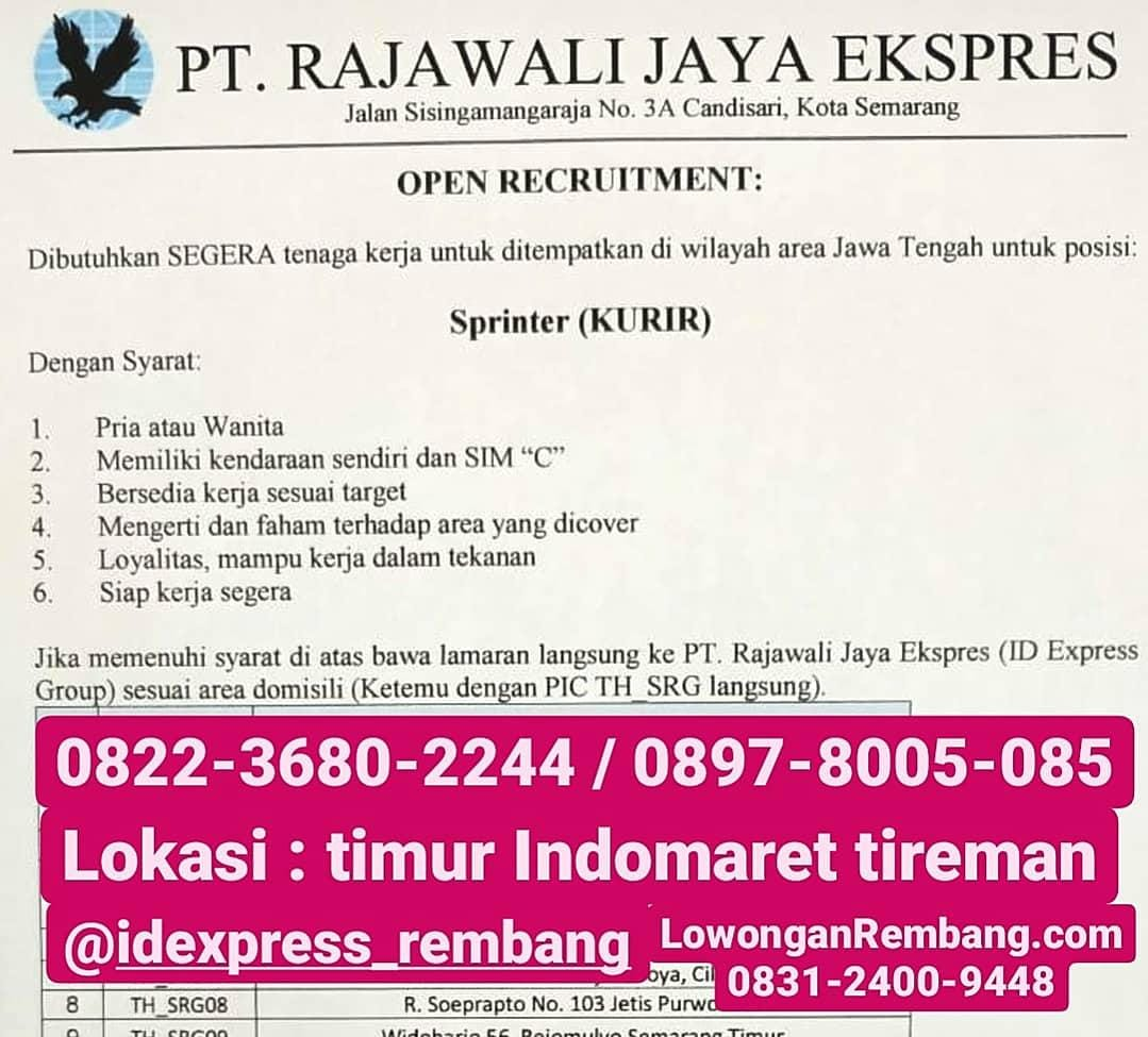 Lowongan Kerja Kurir / Sprinter ID Express PT RAJAWALI JAYA EKSPRES Rembang Tanpa Syarat Pendidikan