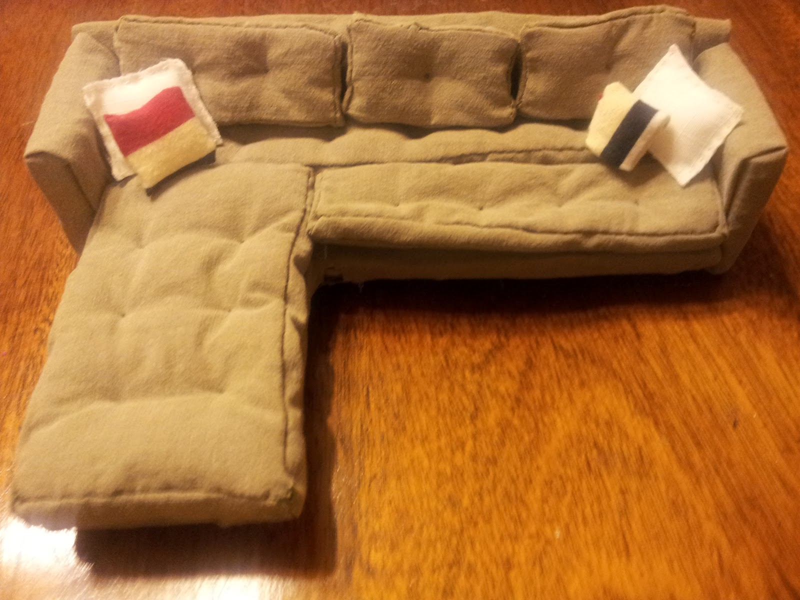 dollhouse miniature sectional sofa extra wide bed diy