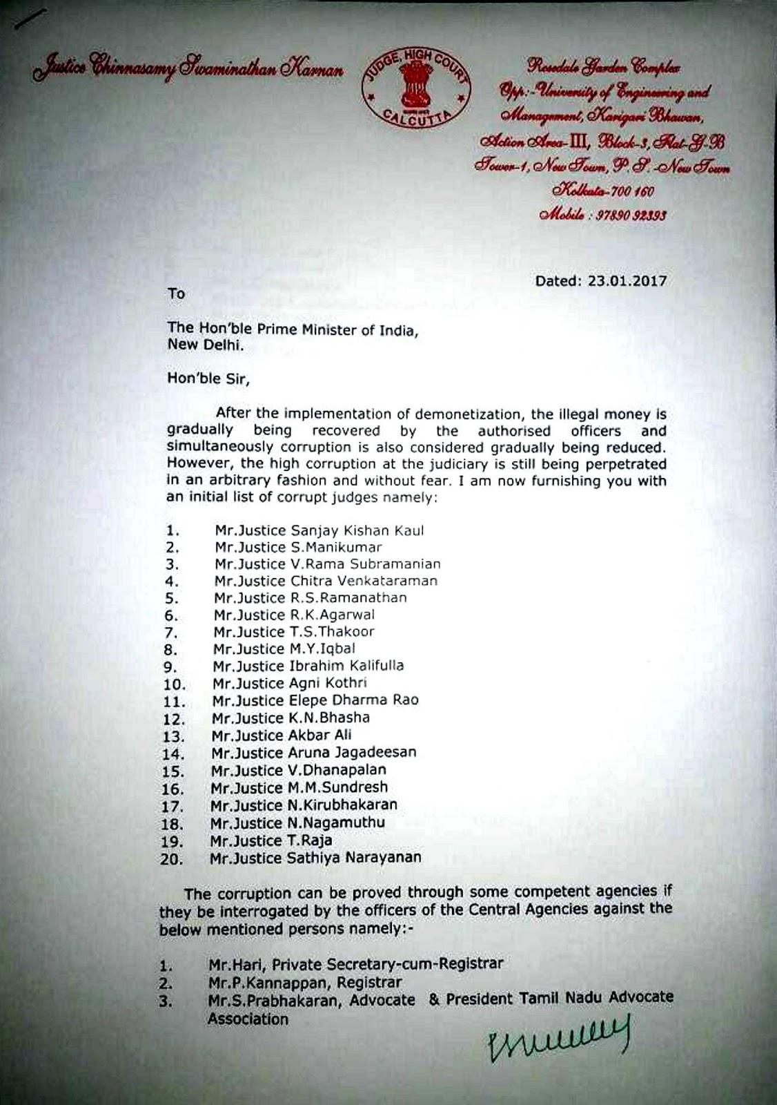 Justice karnan lists 20 corrupt judges in open letter to pm aam read justice cs karnans letter to the prime minister below spiritdancerdesigns Choice Image