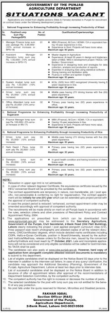 Govt of the Punjab Agriculture Department jobs in Pakistan 2021