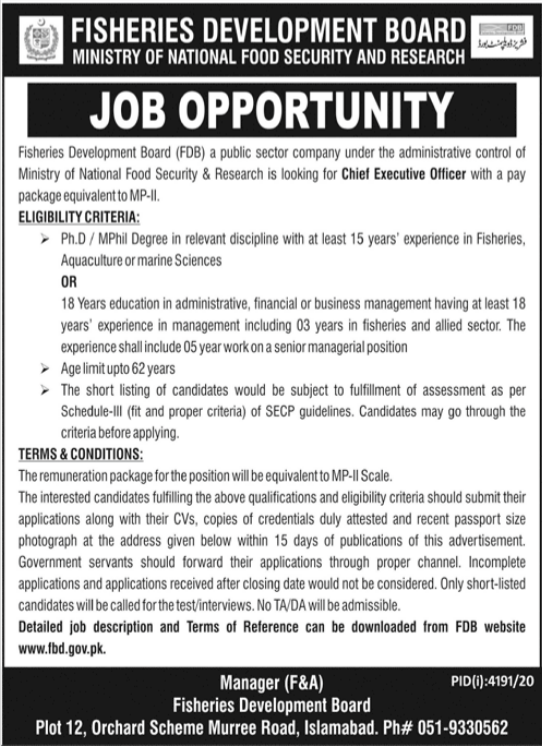 Fisheries Development Board Chief Executive Officer Jobs 2021