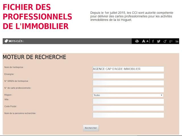 AGENCE CAP D'AGDE IMMOBILIER  dans le moteur de recherche de CCI de France