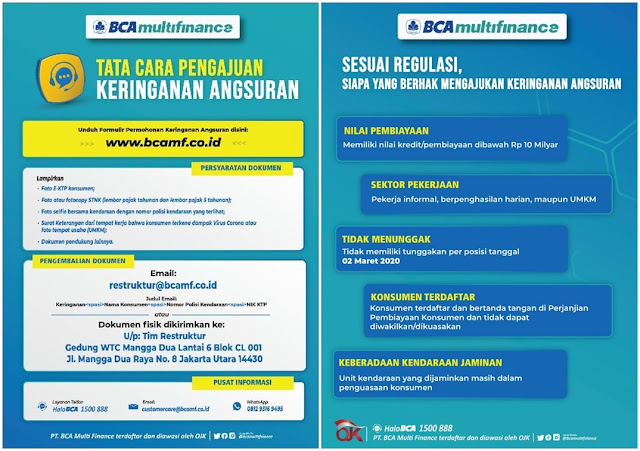 Informasi Restrukturisasi Kredit / Keringanan Kredit di PT BCA Multifinance