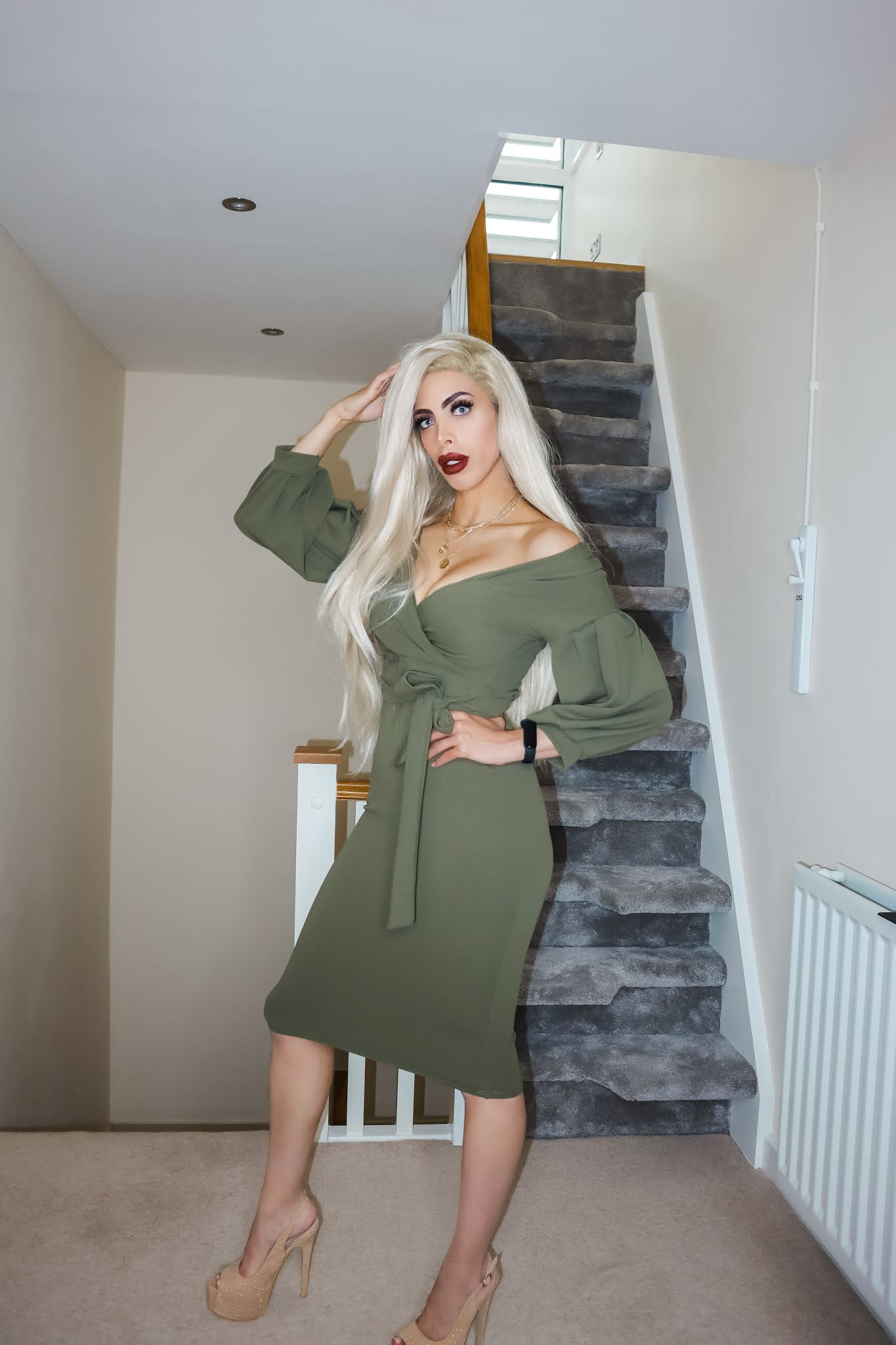 The Femme Luxe Khaki Belted Bodycon Midi Dress