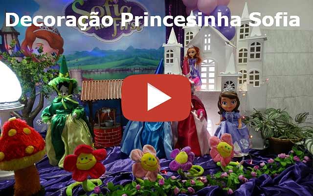 Decoração tradicional luxo para festa de aniversário tema Princesa Sofia