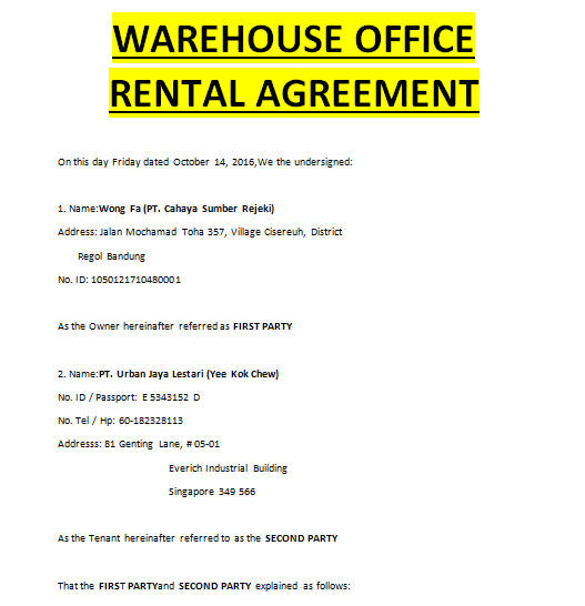 Warehouse Lease Agreement Doc Templates
