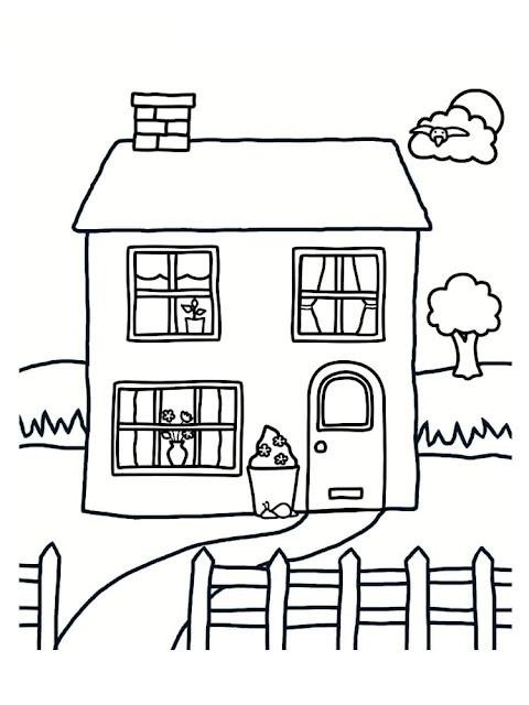 صورة بيت للتلوين للاطفال الصغار