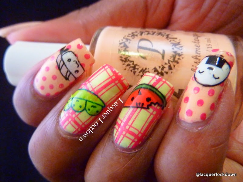 Lacquer Lockdown - 31 day nail art challenge, MoYou London, PolishMeToGo Fast Fuschia, PolishMeToGo Yell Oh Min, MoYou London Pro 01, MoYou London Suki 03, food inspired nail art, sushi nails, kawaii nails, cute nails, cute nail art, diy nail art, stamping, plaid pattern nails, cute summer nails