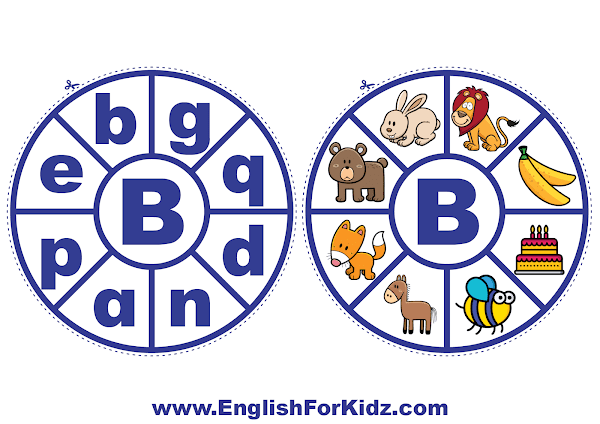 Alphabet matching wheel - letter b - clothespin ABC activities