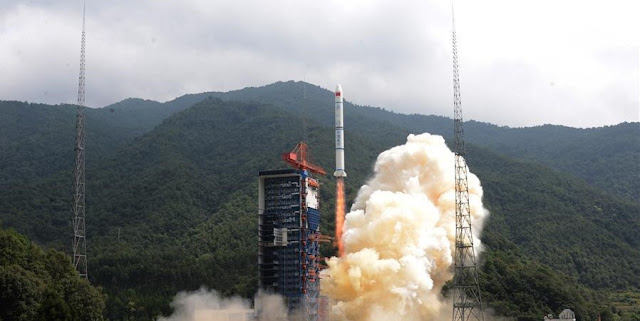 Long March 2C lifts off with three Yaogan-30 01 satellites on September 29. Photo Credit: Xinhua/Zhang Wenjun