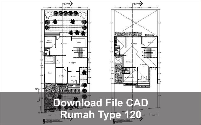 download rumah type 120 dwg cad