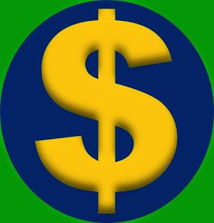 A imagem nas cores do Brasil mostra o cifrão é o símbolo universal do dinheiro.