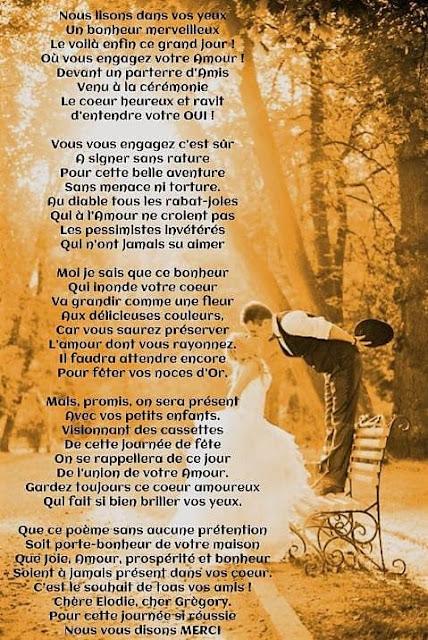 Poème pour vœux de mariage