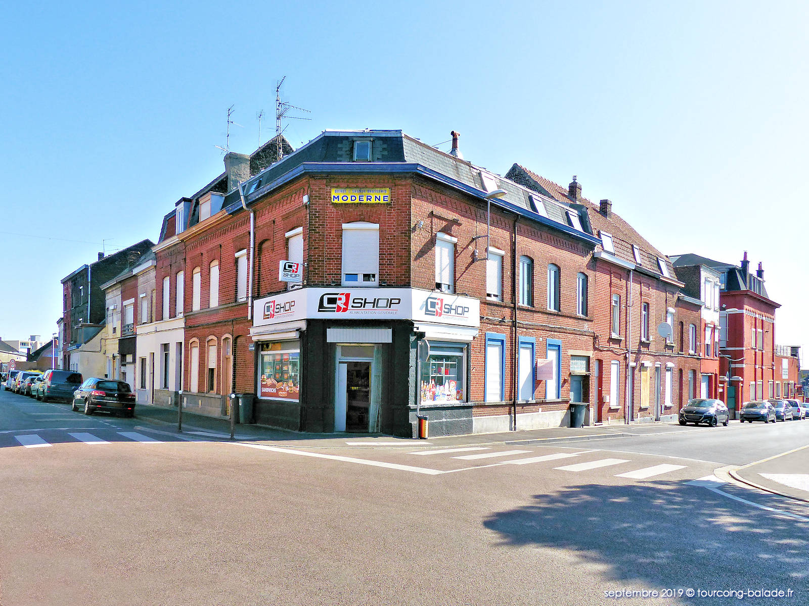Angle Rues Croix Rouge et Trouin, Tourcoing 2019