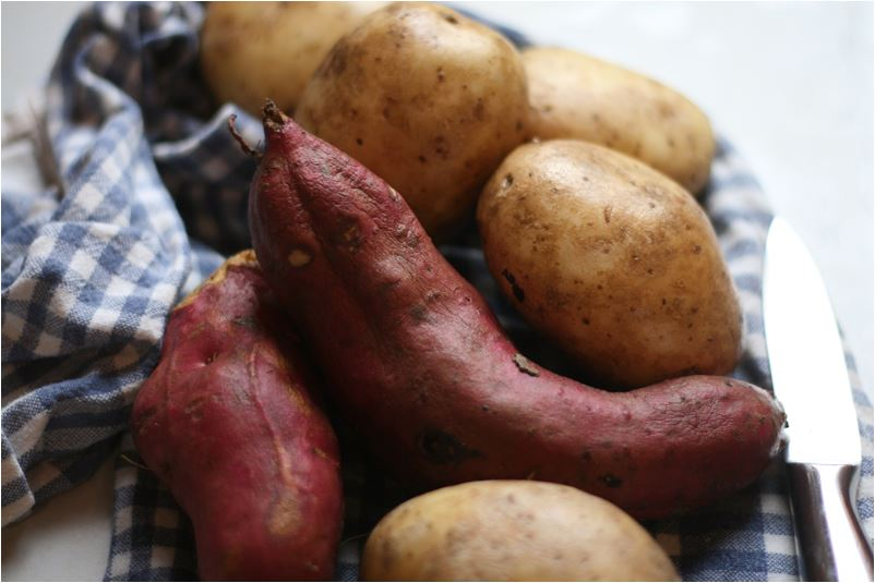 Kumara and pototoes: New Zealand staple foods.