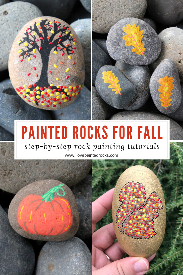 Looking for painted rock ideas for fall? I've got you! Check out my collection of easy fall rock painting ideas. Each one includes a step-by-step tutorial so even complete beginners can do these rock painting projects. #ilovepaintedrocks #rockpainting #paintedrocks #rockart #stoneart #posca #rockpaintingideas #kidscraft #painting #paintpens #fallcraft #easypainting #storystones