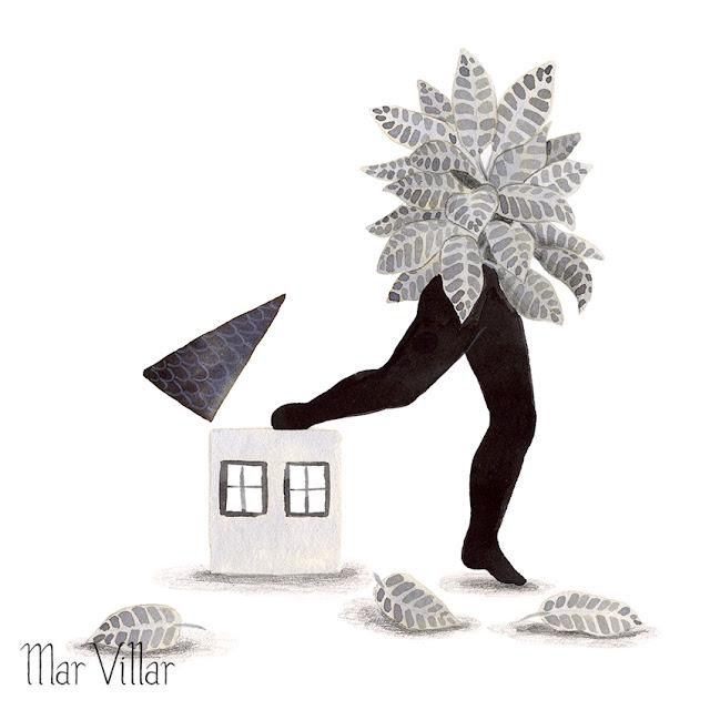 Inktober, Inktober 2016, plantas, crotón, escapar de casa, casa, ilustración a tinta, silueta humana, tinta, aguada de tinta, quink, tinta parker