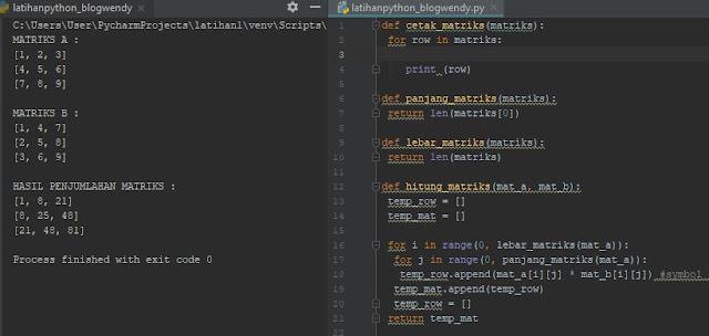 Membuat Program Perhitungan Matrks Ordo 3x3 Dengan Python