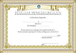 Piagam Penghargaan Juara Kelas Cocok Untuk Wali kelas Yang Ingin Beri Hadiah Ke Siswa