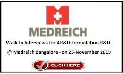 Medreich Pharmaceuticals walk-in interview AR&D / FR&D on 25th Nov' 2019 @ Hyderabad