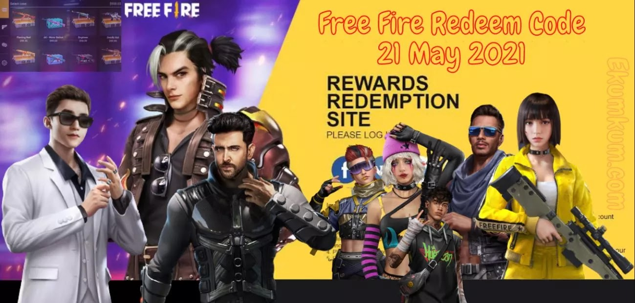Free Fire Redeem Code 21 May 2021 FF   Free Fire Redeem Code Today Indian Server