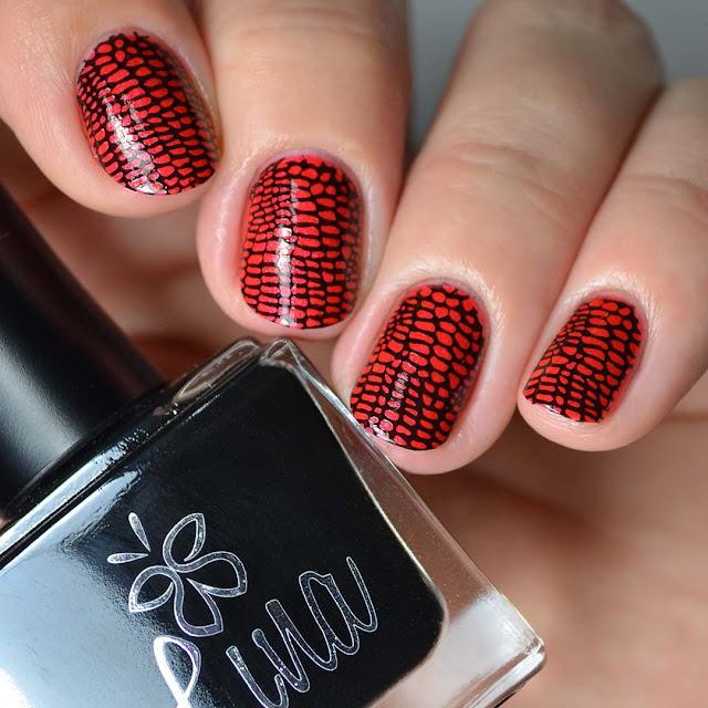 snake skin stamped nail art