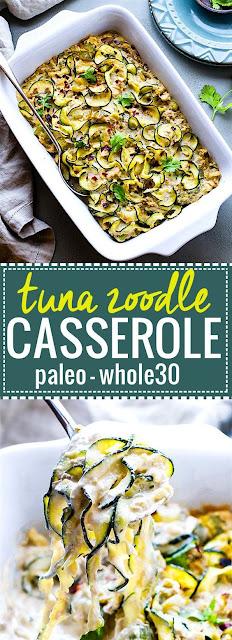 Paleo Tuna Green Chile Zoodle Casserole {Whole 30}