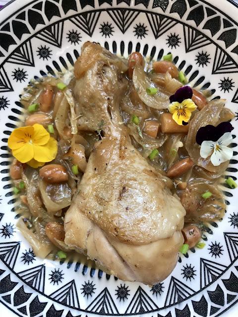 jamoncitos de pollo en salsa de turrón y cava receta