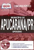 Apostila Prefeitura de Apucarana PR 2017 Operário