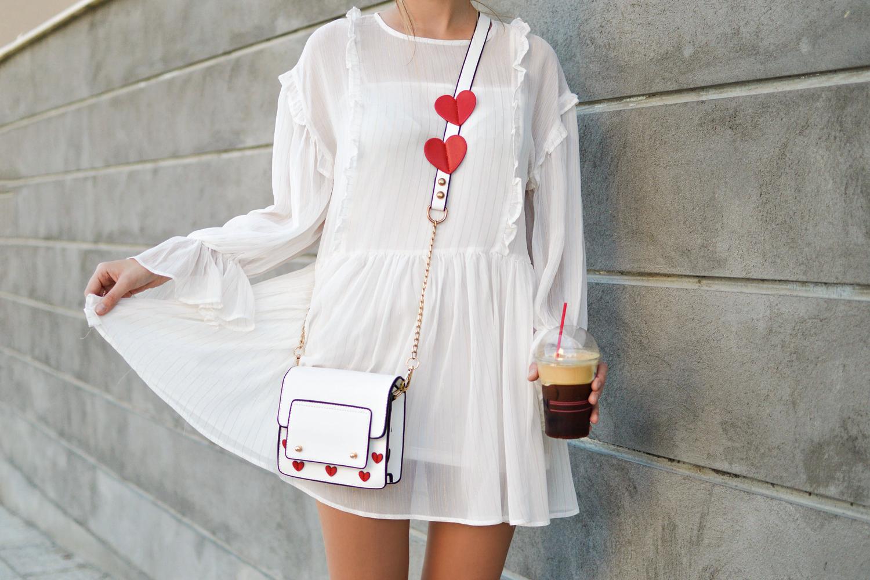 woman in white shirt dress