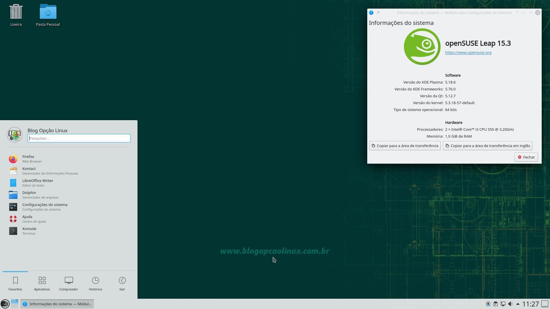 openSUSE Leap 15.3 com o desktop KDE Plasma 5.18.6 LTS