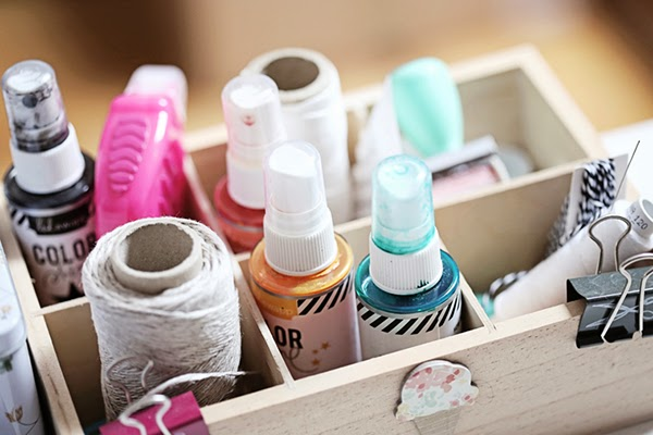 A box of twines and spray inks - creative craft storage from Magda Mizera