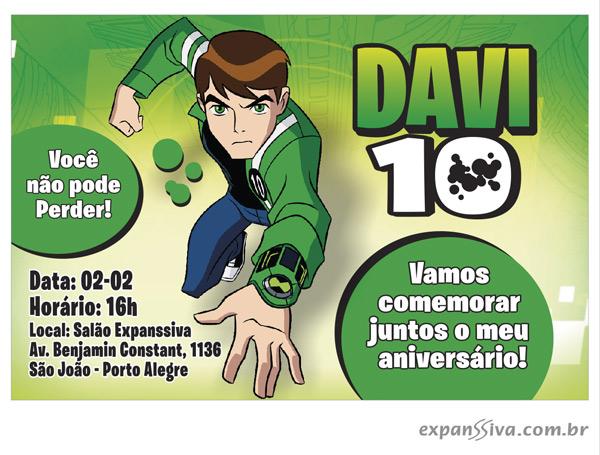 ben 10 convite 01 - Convites de Aniversário Ben 10