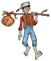 Johnny Appleseed holding old sack full of appleseeds  and cooking pot on the head