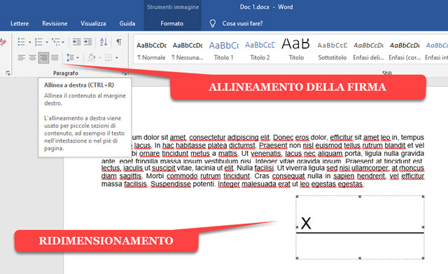 allineamento-ridimensionamento-firma
