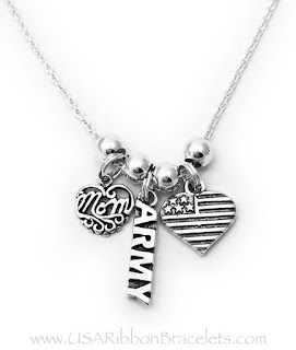 Army Mom necklace with 3 charms: Filigree MOM charm, ARMY charm and Flag Heart charm.