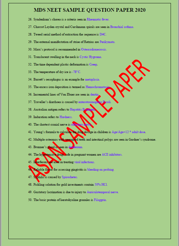 Previous Year NEET MDS 2020 Question paper with Answer Key   Asan Job Portal