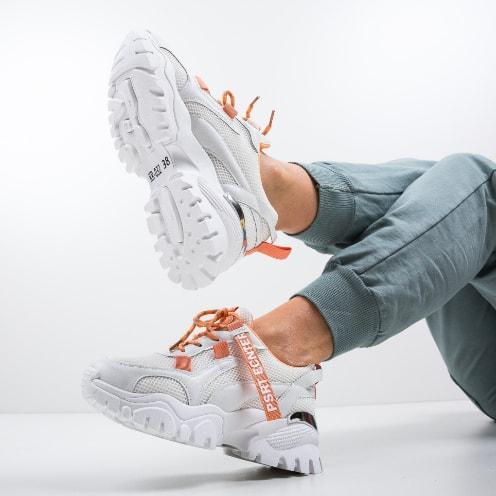 Adidasi dama albi cu portocaliu cu talpa groasa si elemente fashion