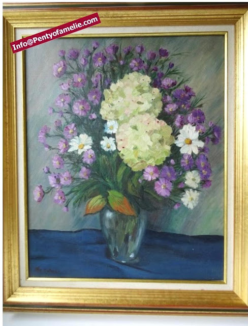 vtg Still Life Oil Painting with Lime Hydrangeas Daisies Violets, original oil on canvas, colorful floral arrangements with awesome Hydrangeas, signed by Artist