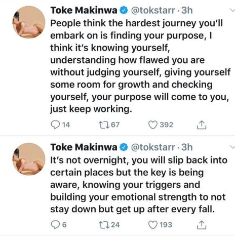 The Hardest Journey Is Not Finding Your Purpose But Knowing Yourself – Toke Makinwa