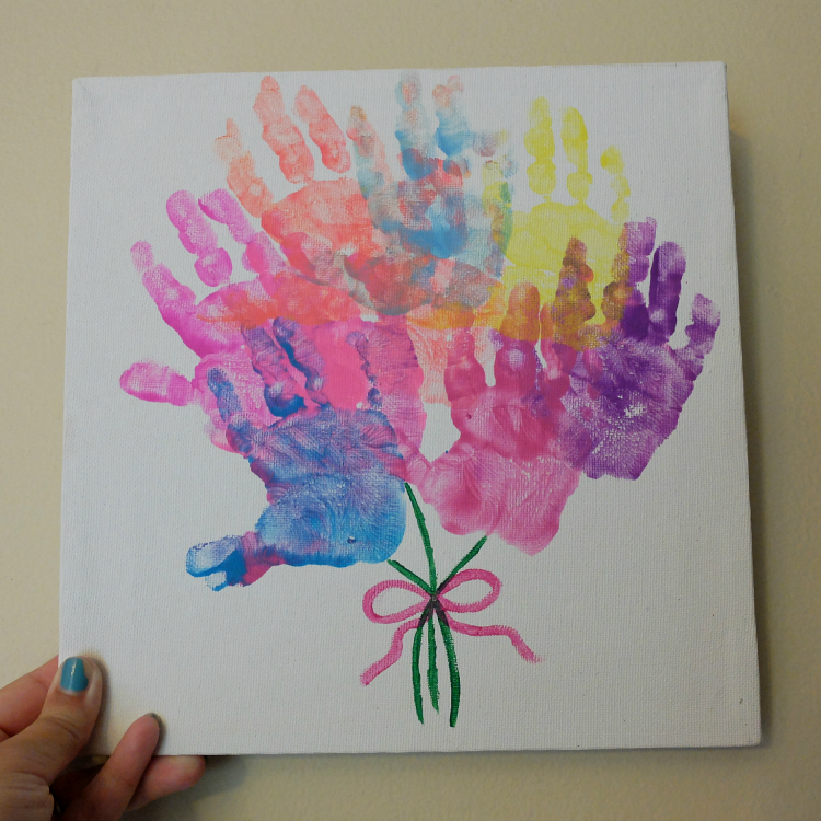 Sweet Turtle Soup - Mother's Day Hand Print Flower Bouquet canvas