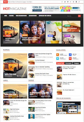 Hot Magazine Adsense Responsive Blogger Templates Without Footer Credit