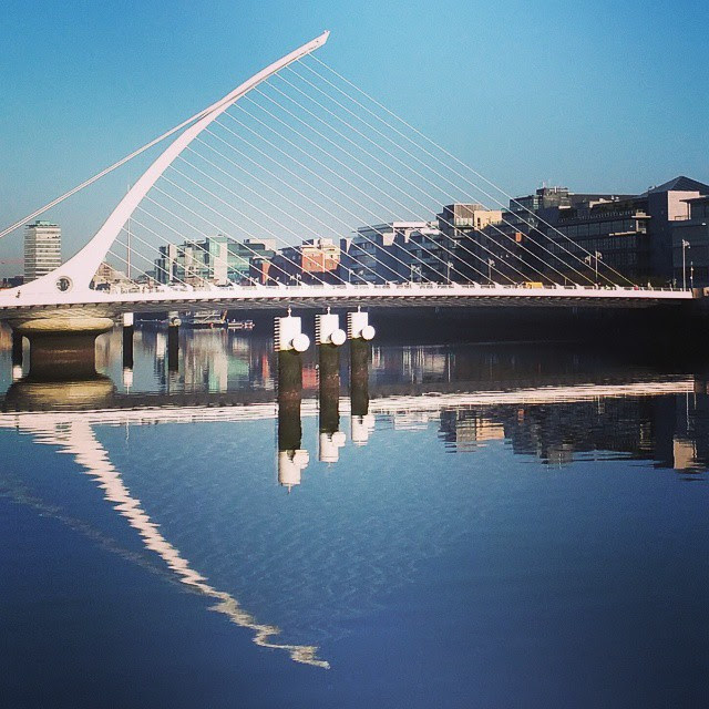 Dublin One Day Itineraries: the Samuel Beckett Bridge on the River Liffey