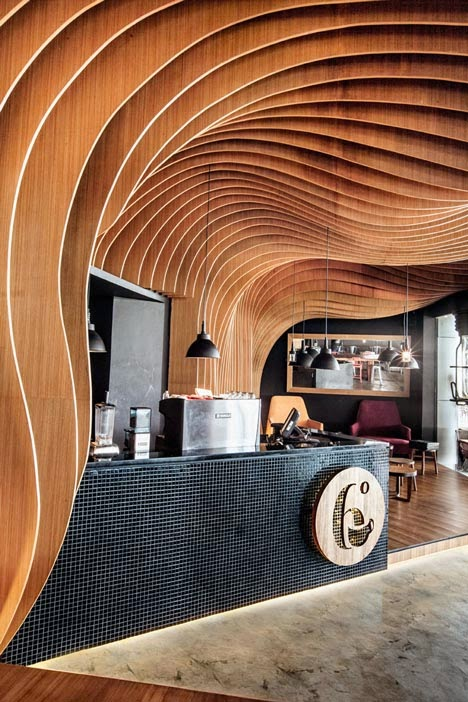 wavy slats structure wall cafe