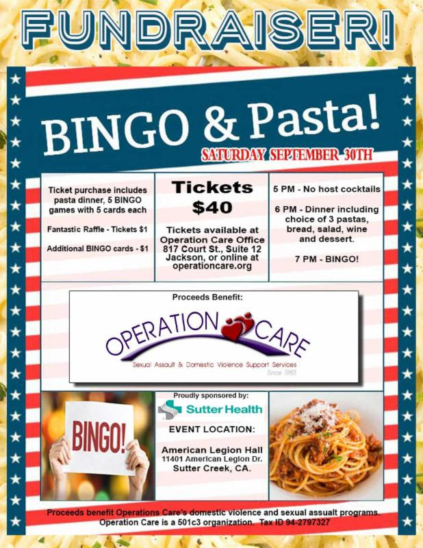Operation Care: BINGO & Pasta Fundraiser - Sat Sept 30