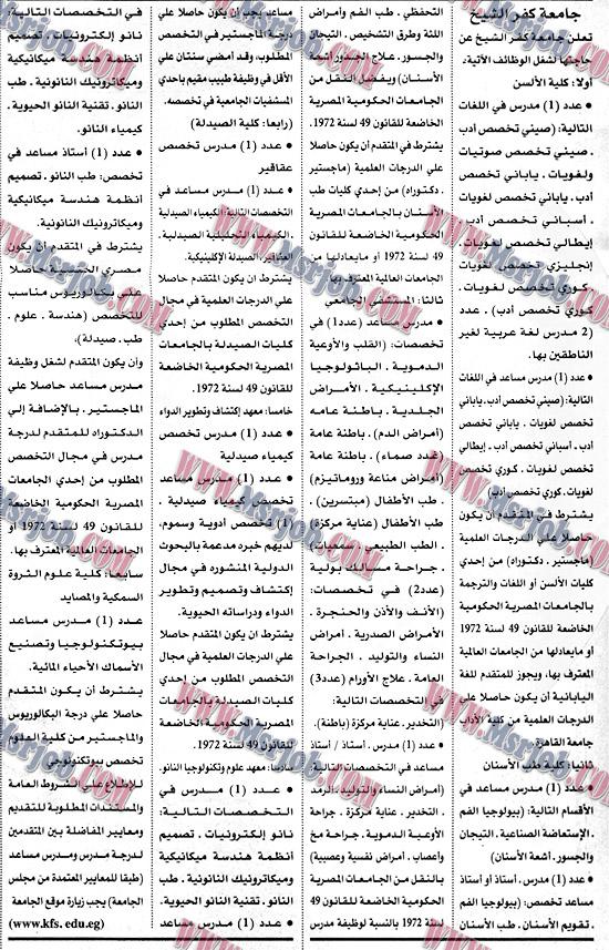الاعلان الرسمي لوظائف جامعة كفر الشيخ - تطلب خريجي الجامعات 4 / 12 / 2017