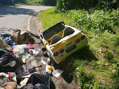 Photograph of fly-tipping on Bradmore Lane, May 7, 2018 Image by North Mymms News released under Creative Commons BY-NC-SA 4.0