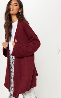 BURGUNDY WIDE SLEEVE KNITTED CARDIGAN