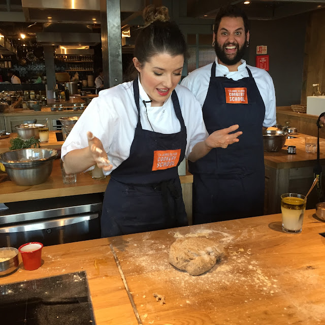 Jamie Oliver Cookery School chefs making whole grain dough