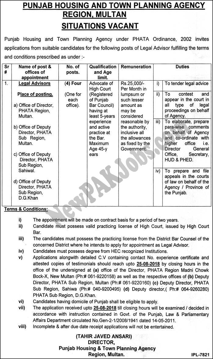 Punjab Housing and Town Planning Agency August Jobs